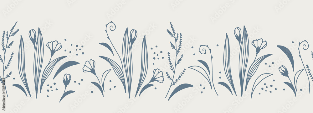 Fototapeta Horizontal banner blue floral seamless pattern isolated on background. Border with flowers and herbs in a linear sketch style. Vector illustration.
