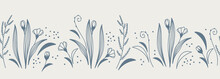 Horizontal Banner Blue Floral Seamless Pattern Isolated On Background. Border With Flowers And Herbs In A Linear Sketch Style. Vector Illustration.