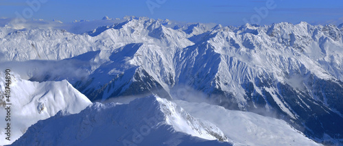 Breathtaking view from the Swiss Alps from Weissfluhjoch at  Davos-City #418744890
