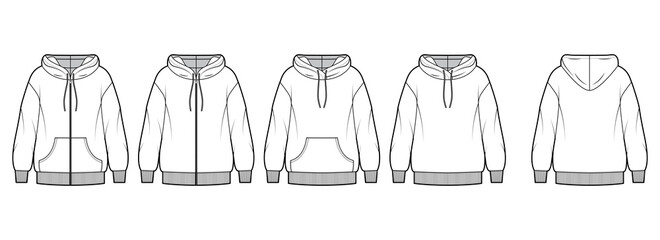 Set of Zip-up Hoody sweatshirt technical fashion illustration with long sleeves, oversized body, pouch, knit rib cuff. Flat extra large template front, back, white color. Women, men, unisex CAD mockup
