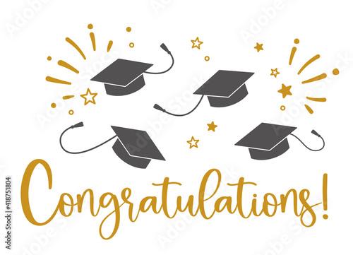 Graduation congratulations at school, university or college Fototapeta
