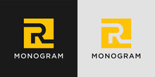 Monogram Letter R Logo Design Template With Creative Abstract Concept