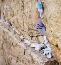 Covid Cure Message On Notes To God In The Cracks Between The Bricks Of The Western Wall, Israel