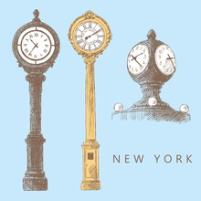 Sketches Of Street Clocks In New York And Clocks In Grand Central Terminal, Hand-drawn.