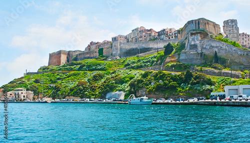 Slika na platnu The Citadel of Bonifacio from the port, Corsica, France