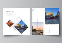 Vector Layout Of Two Square Format Covers Design Templates With Geometric Simple Shapes, Lines And Photo Place For Brochure, Flyer, Magazine, Cover Design, Book, Brochure Cover.