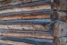 Log House Wall And Corner. Beat Into The Nail Log.