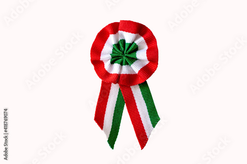 isolated on white tricolor rosette on spring tree with bud symbol of the hungarian national day 15th of march