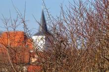 Blurred Church Behind A Thornbushchurch