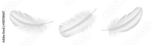 Fotografiet Realistic white feather set closeup isolated on white background
