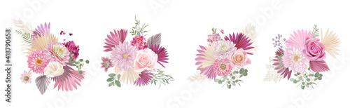 Foto Dried pampas grass, rose, dahlia flowers, tropical palm leaves vector bouquets