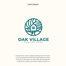 Creative Oak Resident Homes Icon Logo Design Vector Illustration. Oak Tree And House Logo Design Color Editable