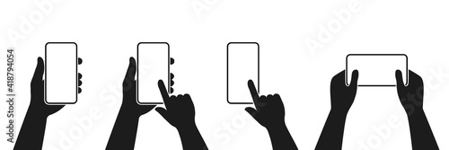 Human hand holding smartphone set icon. Touching smartphone display. Phone holding flat icon sign. Human hands hold vertically and horizontally mobile phone. Phone in hand and click finger sign.