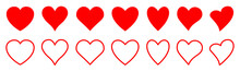 Set Of Hearts Icon, Collection Heart Variations Signs - Stock Vector