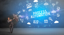 Businessman Defending With Umbrella From PROCESS AUTOMATION Inscription, Modern Technology Concept