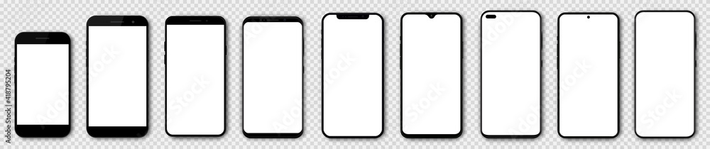Obraz Set high quality realistic trendy different black models smartphone with white empty touch screen and shadow front view. Detailed mockup smartphone, model 3D mobile phone, app, ui, ux, front view. fototapeta, plakat