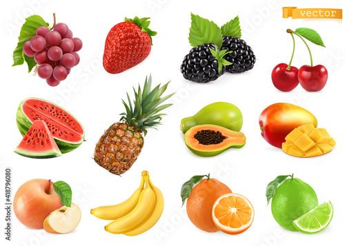 Obraz Grapes, strawberry, blackberry, cherry, watermelon, pineapple, papaya, mango, apple, banana, orange, lime. 3d realistic vector objects - fototapety do salonu