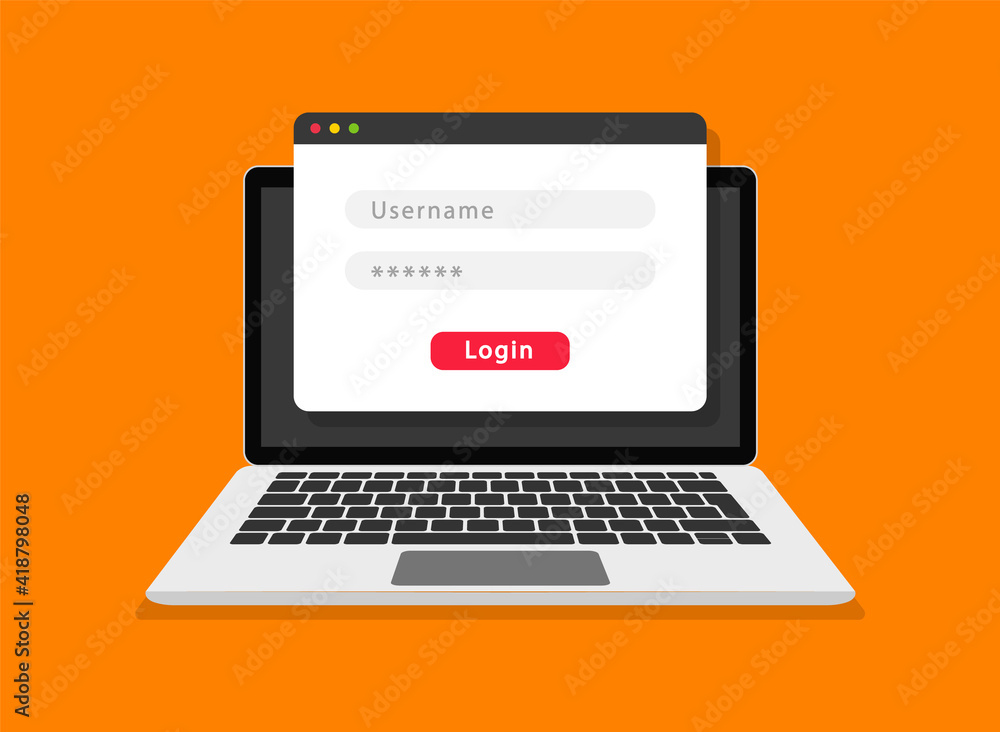 Fototapeta Login form on laptop screen. Login and password form page. Account login user. Sign in to account. Username and password fields for authorization. Flat design. Vector illustration.
