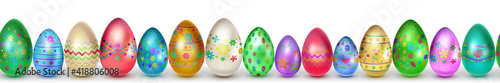Obraz Banner made of realistic Easter eggs in various colors with holiday symbols, glares and shadows on white background with seamless horizontal repetition - fototapety do salonu