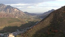 The Mountains And The Buildings Around The Great Wall Of China, Juyong Pass Section.