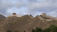 Great Wall Of China, Juyong Pass Section.Watchtower And Wall, No People.