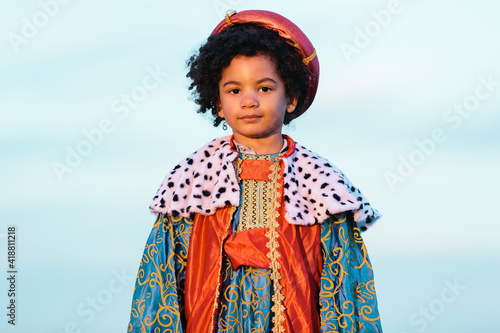Obraz na plátne Black child with afro hair, dressed in a wise man's costume