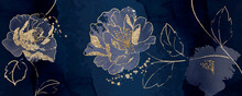 Minimal Background In Navy Blue Peony Flowers And Tropical Summer Golden Leaf