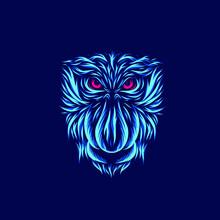 Proboscis Monkey Line Pop Art Potrait Logo Colorful Design With Dark Background. Abstract Vector Illustration.