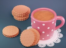 Pink Polka Dot Coffee Mug And Pile Of Sandwich Cookies On White Lace Doily. 3d Render