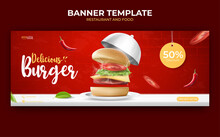 Food Or Culinary Ads Banner Template. Illustration Vector With Realistic Burger, Chili, Plate And Cover Food.