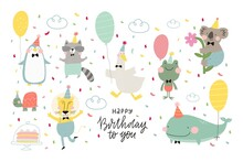 Cute Greeting Card With A Character . Fan Print Birthday Party
