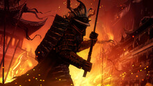 Demonic Samurai With A Katana At The Ready, In Full Armor, Wearing A Helmet, Standing In A Combat Stance Against The Background Of A Burning Eastern City. There Are Embers Everywhere.