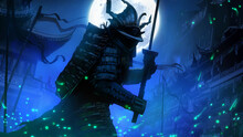 A Sinister Samurai Demon With A Long Katana Against The Background Of A Night Eastern City With A Huge Moon, He Is Wearing Armor And A Helmet, In Which You Can Not See A Person, Around A Mystical Fogg