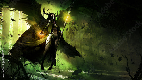 Canvas beautiful young girl, she is a black angel of death with a magic staff in her hands, barefoot hovering in the middle of an abandoned Gothic temple overgrown with thorny plants