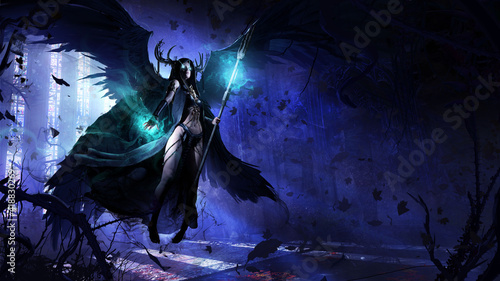 Canvas Print beautiful young girl, she is a black angel of death with a magic staff in her hands, barefoot hovering in the middle of an abandoned Gothic temple overgrown with thorny plants