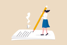 Content Writer, Blogger, Bullet Journalist Or Publishing Editor Concept, Young Smart Woman Freelance Holding Big Pencil Thinking And Writing Content On Notepad Paper With Cup Of Coffee.