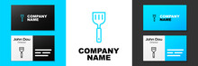 Blue Line Spatula Icon Isolated On White Background. Kitchen Spatula Icon. BBQ Spatula Sign. Barbecue And Grill Tool. Logo Design Template Element. Vector.