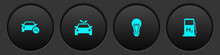 Set Hydrogen Car, Eco Concept Drive, Light Bulb And Filling Station Icon. Vector.