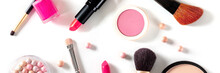Makeup Products And Tools Panorama, Overhead Flat Lay Shot On A White Background