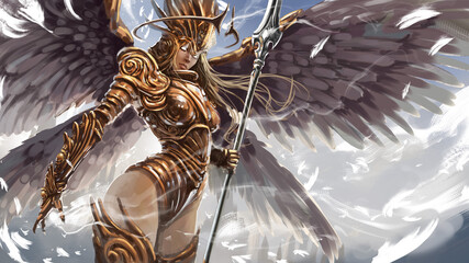 A beautiful angel woman, a warrior, with a long spear, she wears chased plate armor with patterns, she has a beautiful body and long hair. White spiritual magic flows from her weapon