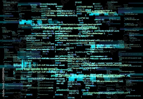 Slika na platnu Programmer screen glitch or software development error background
