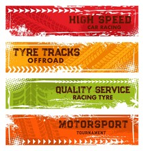 Car Racing, Off Road Tracks And Motorsport Tournament Banners. Automobile Tire Dirty Traces, Wheel Protector Trails In Mud And Vehicle Rubber Threads Vector. Motor Race, Tyre Service Grungy Banners