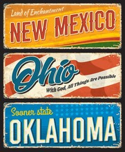 American States, New Mexico, Ohio And Oklahoma Vintage Vector Banners. Signs For Travel Destination. Retro Grunge Boards, Postcards, Antique Signboards With Typography, Touristic Landmarks Plaques Set