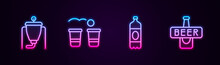 Set Line Beer Brewing Process, Pong Game, Plastic Beer Bottle And . Glowing Neon Icon. Vector.