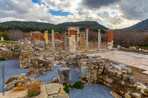 Remains of Church of Virgin (or Church of Councils) in Ephesus, antique cathedra Fototapet
