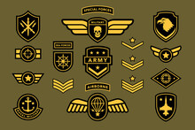 Special Force Army Insignia Uniform Label, Tag, Stripe Badge. Navy, Airborne Soldier Military Camouflage Patch Set With Eagle, Star, Sword, Shield, Jet Vector Illustration Isolated On White Background