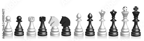 Canvastavla 3d set of black and white chess pieces