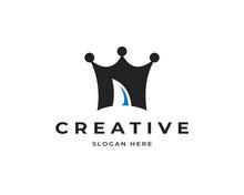 N Letter King Vector Logo Icon. Creative Shark Fin Logo Symbol