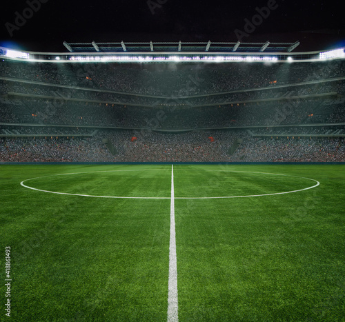 Obraz green field in soccer stadium. ready for game in the midfield - fototapety do salonu