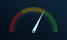 Gauge Or Meter Indicator. Speedometer Icon With Red, Yellow, Green Scale And Arrow. Progress Performance Chart. Vector Illustration.